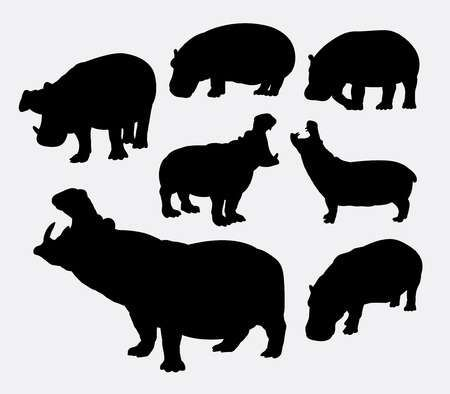 Illustration Of Hippopotamus Wild Animal Silhouettes Good Use For Symbol Web Icon Logo Mascot Or Any Design You Wan Animal Silhouette Animals Animals Wild