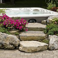 This makes a perfect way to cover up an otherwise really ugly square hot tub
