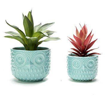 Minimalist Owl Design Tabletop Turquoise Ceramic Planter Pots Set Of 2 Ceramic Succulent Planter Succulent Planter Ceramic Planter Pots