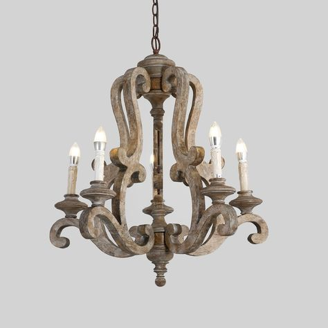 Antique 5 Light Wooden Candle Chandelier, Distressed White