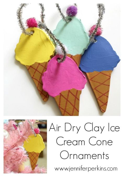 Christmas In July Ideas Pinterest.Air Dry Clay Ice Cream Cone Ornaments For Christmas In July