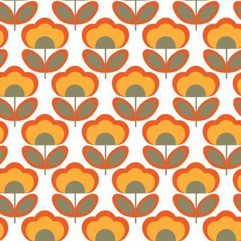 Carta Parati Anni 70.Carta Da Parati Anni 70 Fiori Arancioni Carte Da Parati
