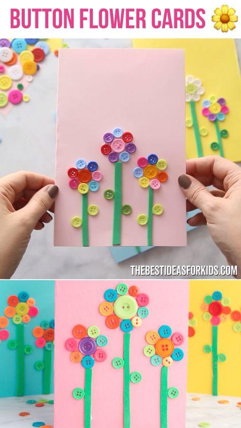 BUTTON FLOWER CARDS 🌼