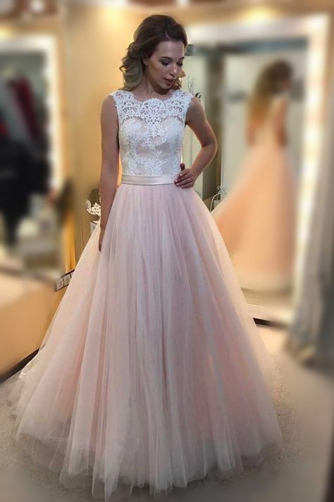 d516bc2ee Chic A-line Scoop Tulle Applique Modest Pink Long Prom Dress Evening ...