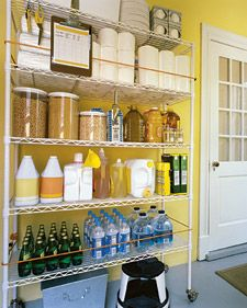 Stretch bungee cords across the front and sides of open shelves to secure items that might slide or tip over.