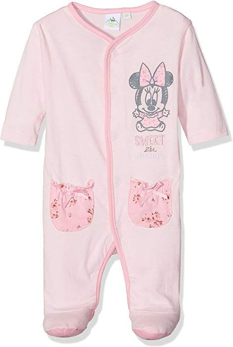 Girls Baby Disney Minnie Mouse Stripe Sleepsuit Romper Sizes from Newborn to 18 Months