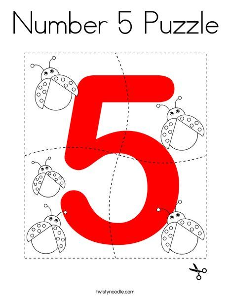 Number 5 Puzzle Coloring Page Twisty Noodle Numbers Preschool Numicon Activities Number 5