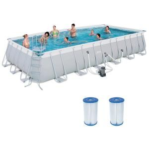 Bestway Bestway 4 Ft X 12 Ft Above Ground Pool Set With Ladder Pump And Cartridges 2 Pack 56542e Bw 2 X 58095e Bw The Home Depot In Ground Pools Above Ground Pool Aqua Tiles