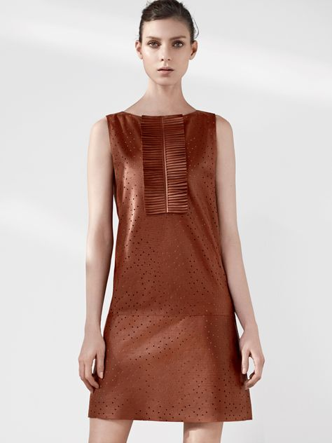 Fendi Sleeveless shift dress in perforated cognac lambskin with front ruffle detail. 212 872 8696