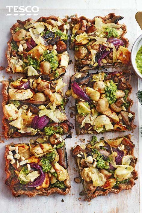 Mushroom Nut Roast Tart With Pesto
