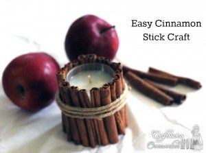 an easy craft for decorating! Cinnamon Stick Votive Holder #friendsgiving #partycrafters #thanksgiving