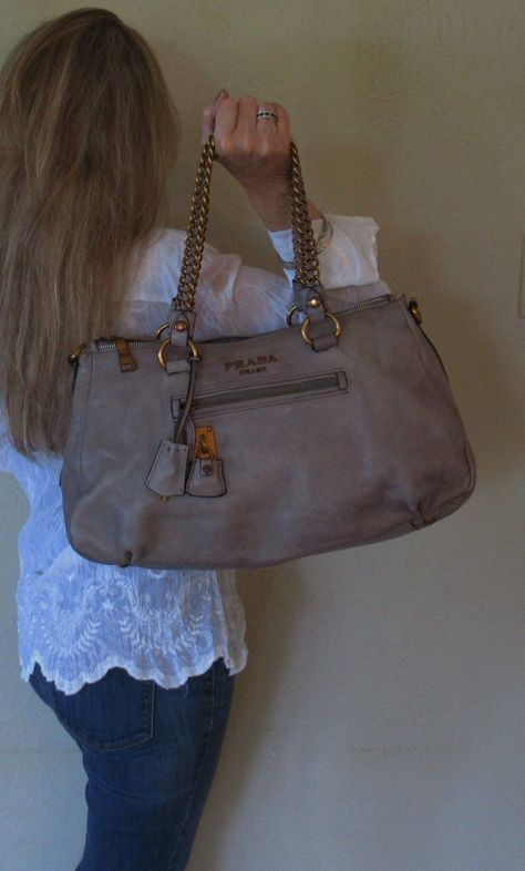 0c92316cc5b6c9 $2380. genuine PRADA Italy SHOULDER PURSE Taupe LEATHER Large COUTURE Tote  Bag