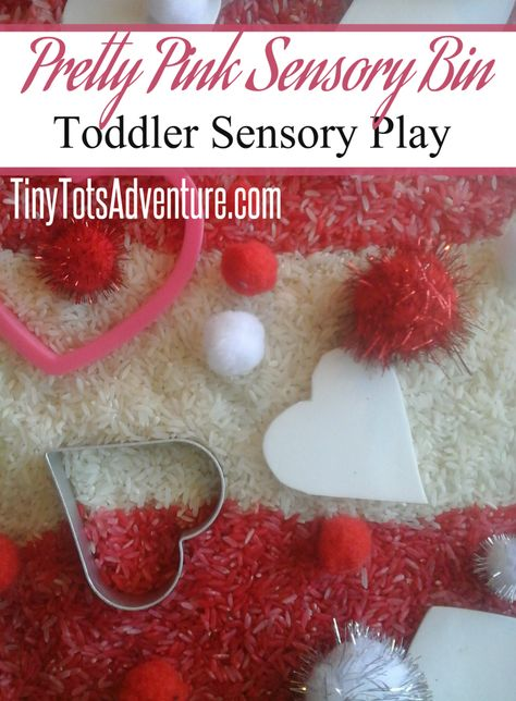 Pretty pink sensory bin from Tiny Tots Adventures