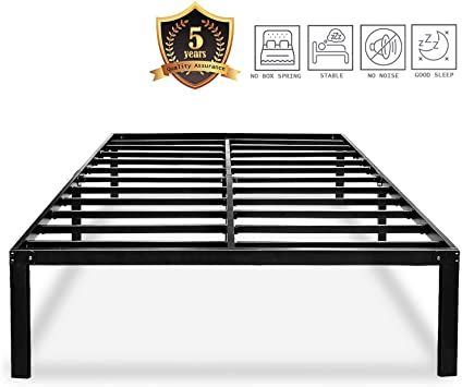 Haageep Black Queen Bed Frame Metal No Box Spring Needed 14 Inch Platform Heavy Duty Beds Frames With St Bed Frame With Storage Metal Bed Frame Queen Bed Frame No box spring bed frame