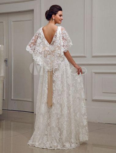 Vestido de boda de encaje de color marfil con escote en V - Milanoo ...
