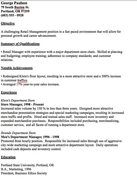Example Of Warehouse Manager Resume -    resumesdesign - department store manager sample resume