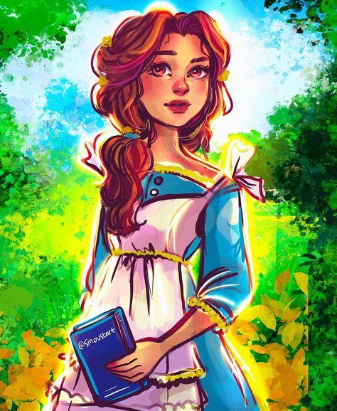 "Sarah Moustafa on Instagram: ""✨Belle✨ I'm having so much fun painting princess portraits! #princess #belle #disney #beauty #beautyandthebeast #disneyprincess #belleart…"""