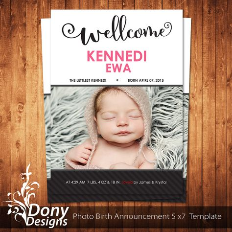 Birth Announcement Photoshop Template Neutral Baby Announcement - birth announcement template