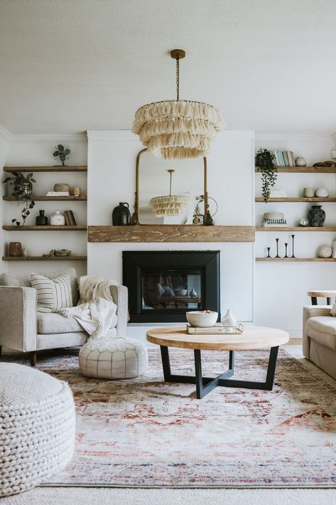 The Many Looks Of One Living Room - Jessica Sara Morris Boho Living Room, Living Room Modern, Carpet In Living Room, Rustic Living Rooms, Long Living Rooms, Living Room And Bedroom In One, Contemporary Living Room Designs, Living Room Walls, Mirror Decor Living Room