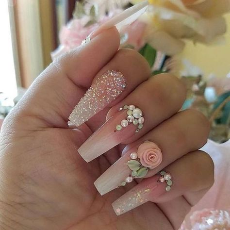 Cool 47 Creative Wedding Nails Ideas For Bride. More at http://www.tilependant.com/2018/10/24/47-creative-wedding-nails-ideas-for-bride/