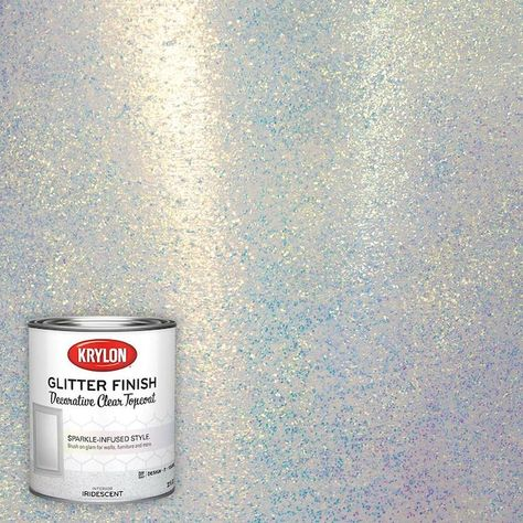 Krylon Iridescent Glitter Paint (Actual Net Contents: oz) at Lowe's. Krylon® Glitter Finish applies smoothly and evenly to any project including walls, mirrors and seasonal decor. To achieve a higher intensity sparkle, Glitter Ceiling, Glitter Floor, Glitter Grout, Glitter Walls, Glitter Paint Bedroom, Sparkle Paint, Room Paint, Sparkly Bedroom, Adding Glitter To Paint