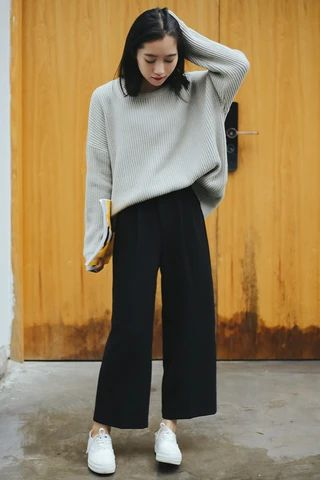 Ulzzang Solid High Waist Trousers