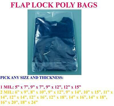 Any Size Poly Clear Plastic Flap Back Lock Bags T Shirt Apparel 2 1 Mil 2 Mil Ebay In 2020 Bags Poly Ebay