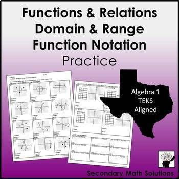 Functions Domain Range Function Notation Practice Common Core High School Math Geometry Lesson Plans Notations