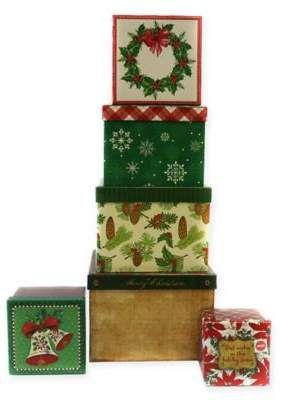 Bed Bath Beyond 6 Piece Christmas Square Gift Box Set Sponsored