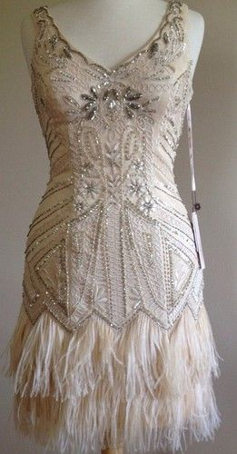 SUE WONG 1920's Gatsby Deco Champagne Beaded Feather Bridal Flapper Dress 6 NEW