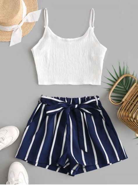 Crop Cami Top And Striped Belted Shorts Set - Deep Blue M fall fashion trends Work,fall fashion trends Outfits,fall fashion trends Women's,fall fashion trends Latest,fall fashion