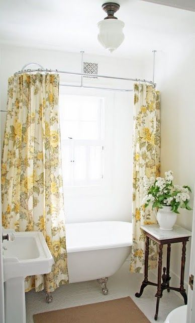 Small Farmhouse Bathroom With Yellow Printed Curtains Vintage