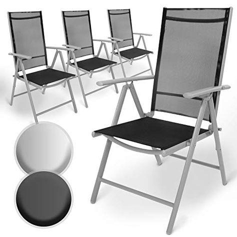 4 Set en Aluminium Chaise de Jardin Dossier Haut Pliante Camping Longue Gris