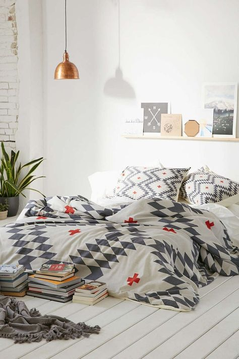 Aztec quilt cover l Copper light l Bohemian bedroom l White, grey and copper bedroom
