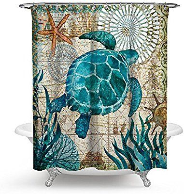 Amazon Com Econie Sea Turtle Ocean Animal Landscape Shower