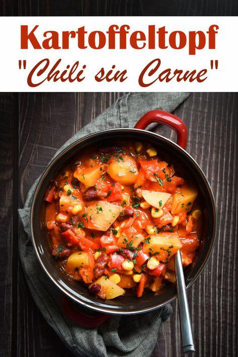 Kartoffeltopf Chili sin Carne - leckerer Kartoffeleintopf zum Mittagessen, Kartoffeln in passierten Tomaten gekocht, mit Kidneybohnen, Mais und Paprika, All in One Rezept für den Thermomix