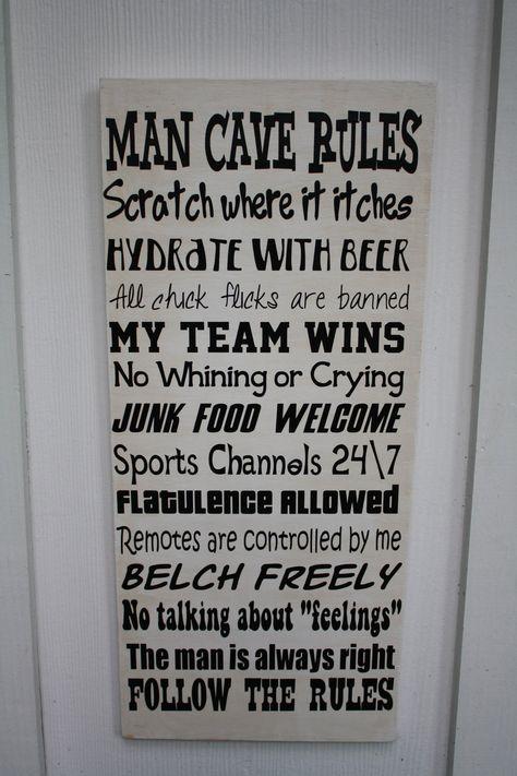 Sale Man Cave Rules Wood Subway Art Sign Typography Man Cave Rules Man Cave Man Cave Basement