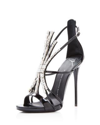 GIUSEPPE ZANOTTI Embellished Alien High Heel Sandals. #giuseppezanotti #shoes #sandals