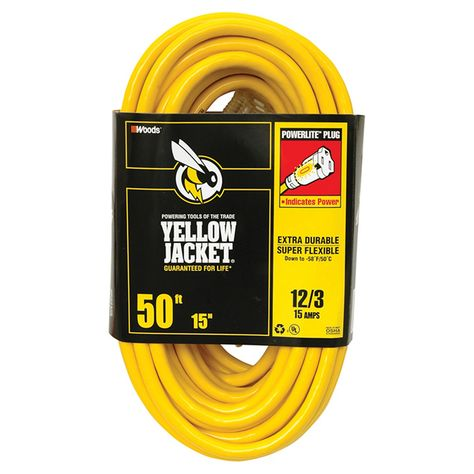 WOODS YELLOW JACKET 2884 CONTRACTOR HEAVY DUTY 12//3 X 50 FT EXTENSION DROP CORD