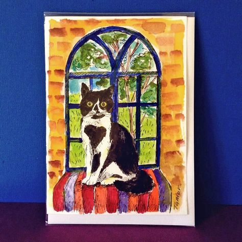 Cat Gift Card To Frame Black And White Cat Card Tuxedo Cat Gift
