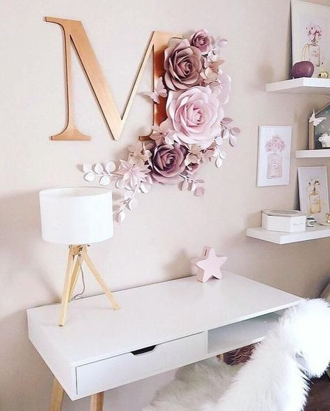 Wandblumen für Mädchen Kinderzimmer - Kinderzimmer Papierblume Wanddekoration - Tapeten Blumen - Papierblumen Dekor -  - #kinderzimmer