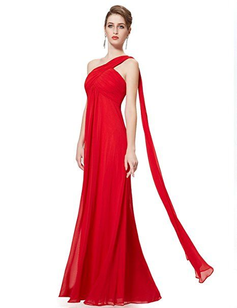Ever Pretty Womens One Shoulder Padded Ruffles Fashion Long Evening Dress