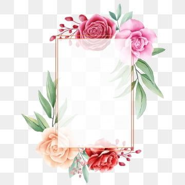 Elegant Square Floral Frame For Wedding Invitation Cards Composition Floral Clipart Watercolor Flower Png And Vector With Transparent Background For Free Dow Watercolor Flowers Flower Frame Flower Backgrounds