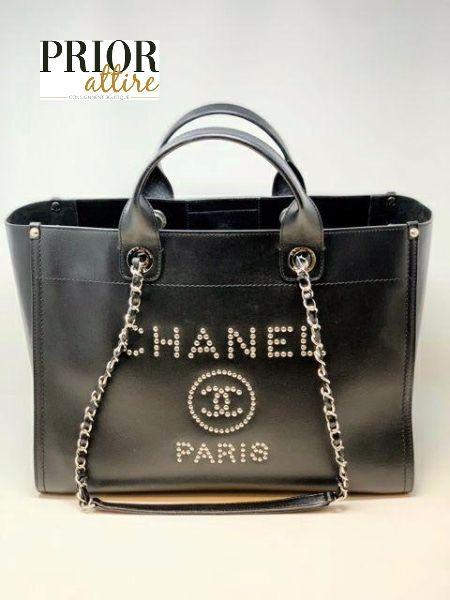Chanel Deauville Tote In 2020 Tote Black Handbags Handbag