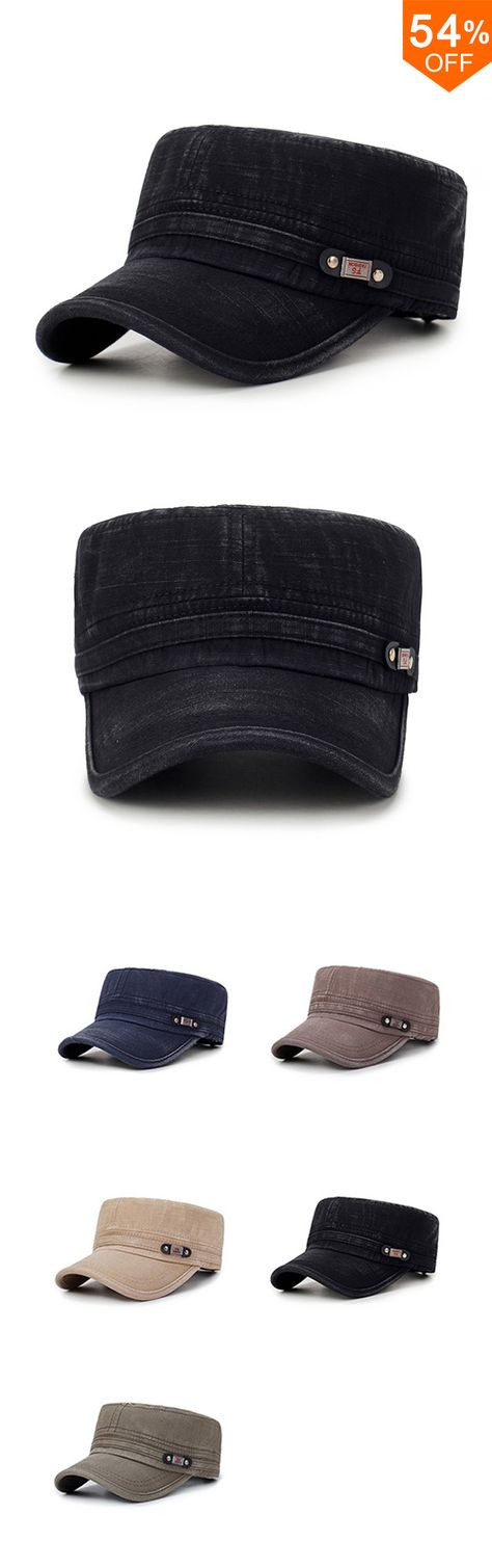 Free Shipping&Fashion Mens Washed Cotton Flat Top Hat Outdoor Sunscreen Military Army Peaked Dad Cap