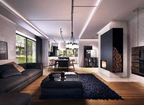 Modernes Wohnzimmer Sofa Anthrazit Holzboden Schwarzer Teppich