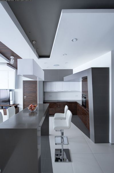 Il controsoffitto in cucina nasconde la canna fumaria. Controsoffitto Design Appartamento Minimalista Appartamento Bianco Design Appartamenti