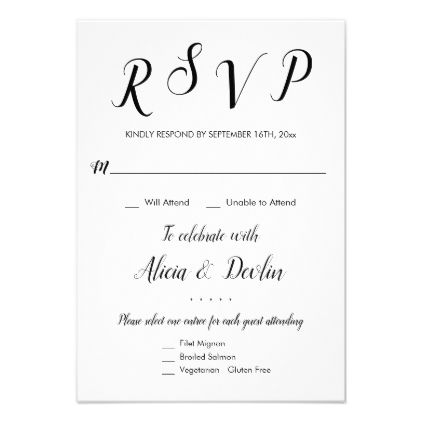Rsvp 3 Entree Menu Selection Response Reply Zazzle Com