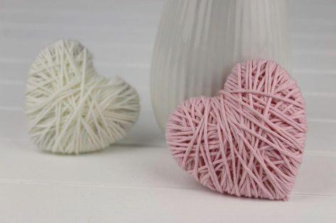 DIY Wollherzen schnell und einfach selber machen   schöne Deko #deko #dekoration #diy #einfach #selbermachendekoration