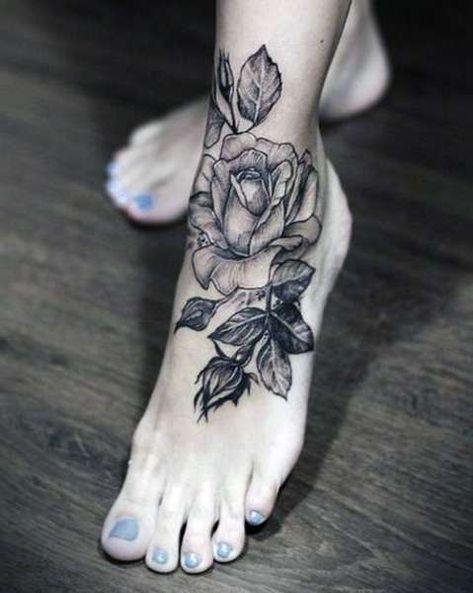 Tatuaże Róża Na Stopie Tattoos Tatuaże Tatuaże Na